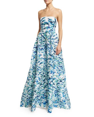 Strapless Pleated Floral Ball Gown, Pacific Blue/Multi