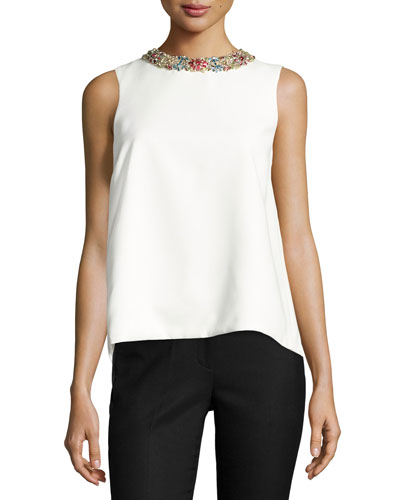 Jeweled-Neck Split-Back Top, White