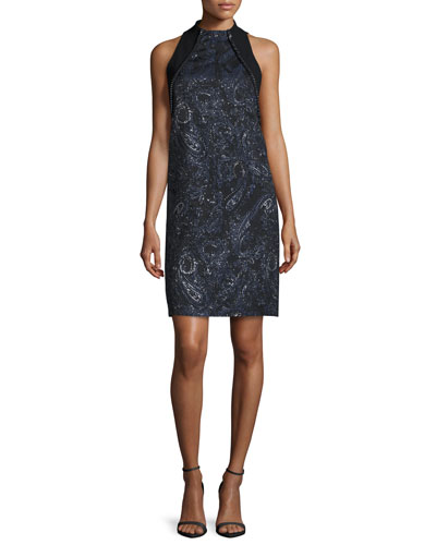 Sleeveless Beaded Paisley Cocktail Dress, Midnight