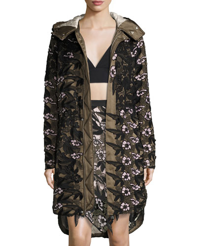 Long Floral-Lace Satin Parka, Khaki Multi