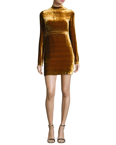 a L C Gemma Long Sleeve Velvet Mini Dress Gold | Clothing
