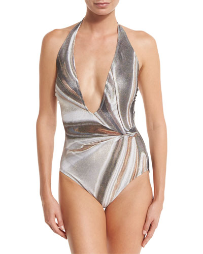 Agate Lamé Plunging Halter One-Piece Swimsuit