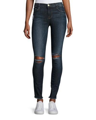 Le Skinny De Jeanne Raw-Edge Jeans, King's Imperial