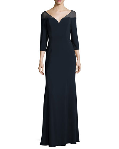 3/4-Sleeve Jersey Evening Gown, Navy