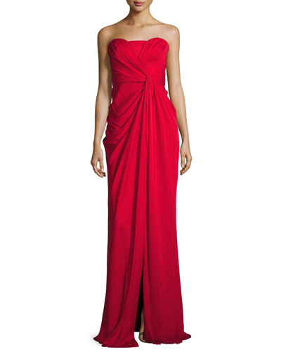 Silk Sweetheart Column Gown, Red