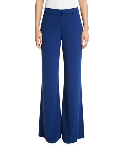 Paula Slim Wide-Leg Pants, Blue