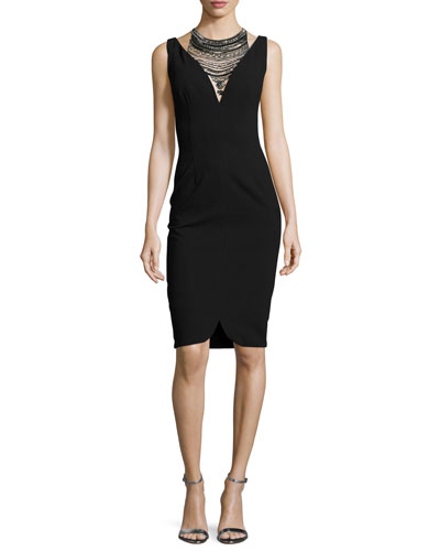 Sleeveless Stretch Crepe Cocktail Dress, Black