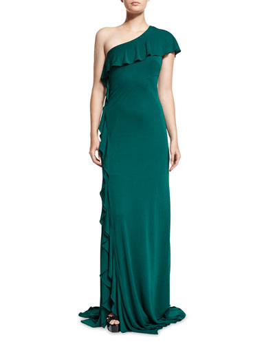 One-Shoulder Ruffle-Trim Jersey Gown, Jade