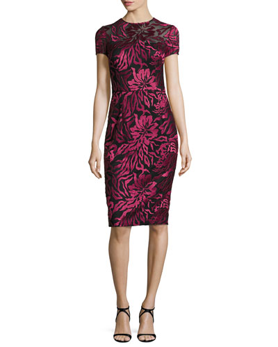 Short-Sleeve Floral Embroidered Sheath Dress, Burgundy