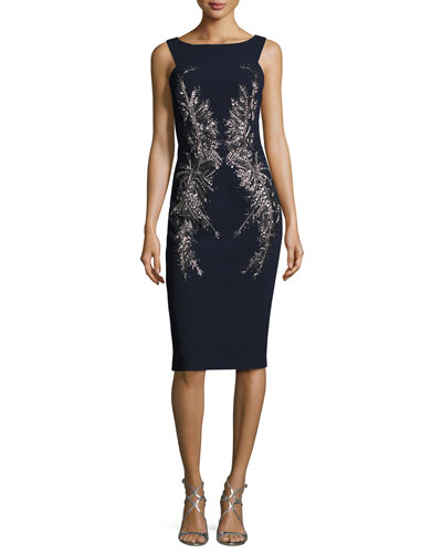 Sleeveless Embellished Crepe Cocktail Dress, Navy