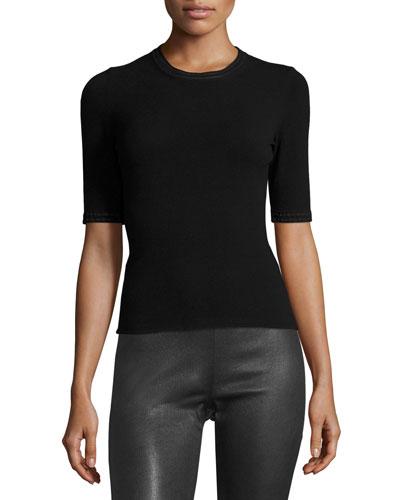 Half-Sleeve Pullover Top, Black