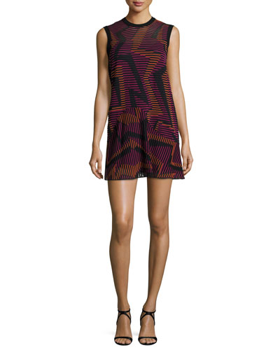 Sleeveless Ribbed Geometric-Knit Dress, Fuchsia