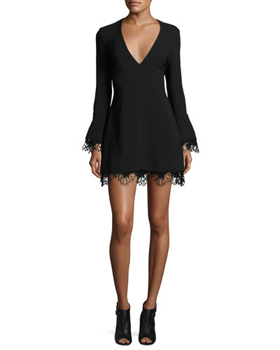 Jamie Lace-Trim Ponte Mini Dress, Black