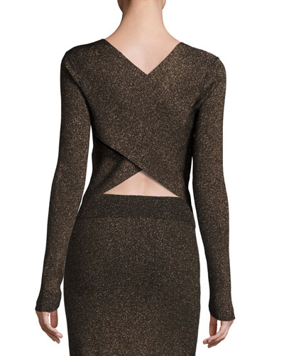 Chance Ribbed Metallic Sweater, Black/Apricot