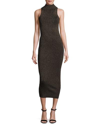 Marc Metallic Racerback Midi Dress, Black/Apricot