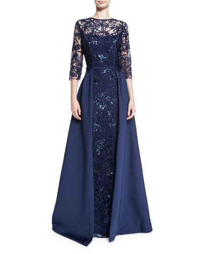 3/4-Sleeve Embellished Floral Tulle Ball Gown, Navy