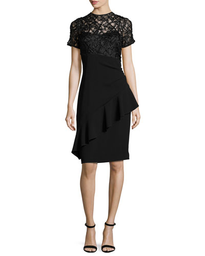 Short-Sleeve Beaded Lace & Crepe Sheath Dress, Black