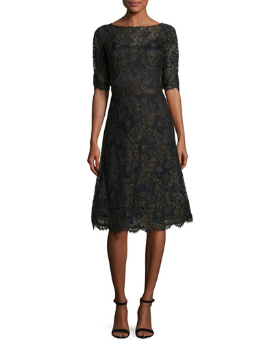 Scalloped Floral Lace Cocktail Dress, Black/Gold
