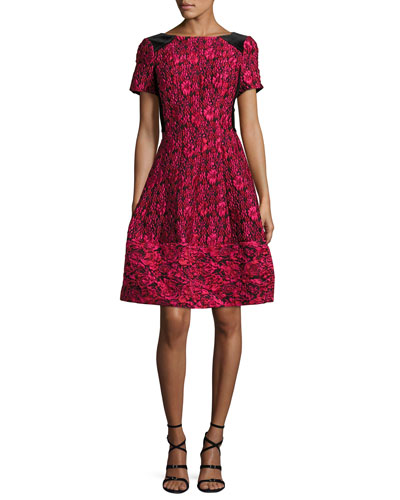 Short-Sleeve Floral Jacquard Fit-and-Flare Dress, Cherry