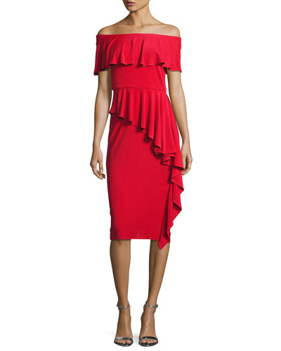Off-the-Shoulder Draped Jersey Sheath Dress, Red