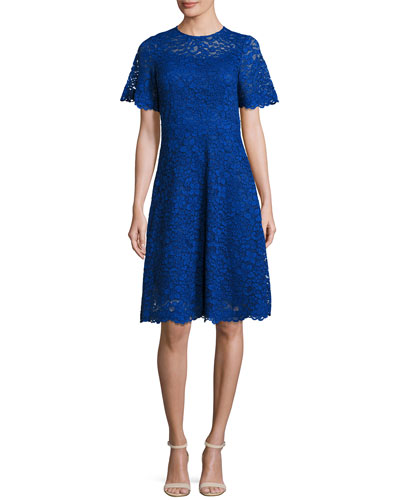 Short-Sleeve Lace A-Line Cocktail Dress, Royal