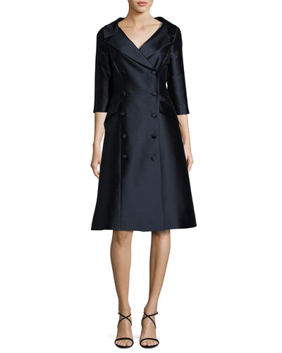 Double-Breasted Taffeta A-Line Dress, Navy