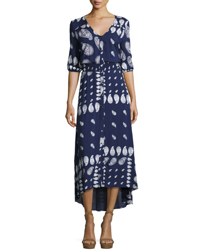 Drifter Paisley Button-Front Maxi Dress, Indigo