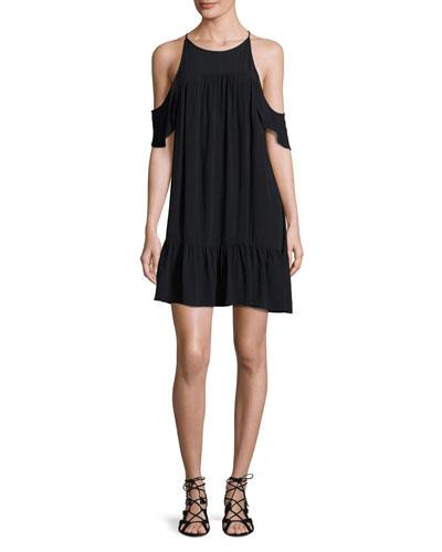 Valley Frill Cold-Shoulder Coverup Dress, Black