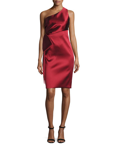 One-Shoulder Stretch Satin Sheath Dress, Garnet