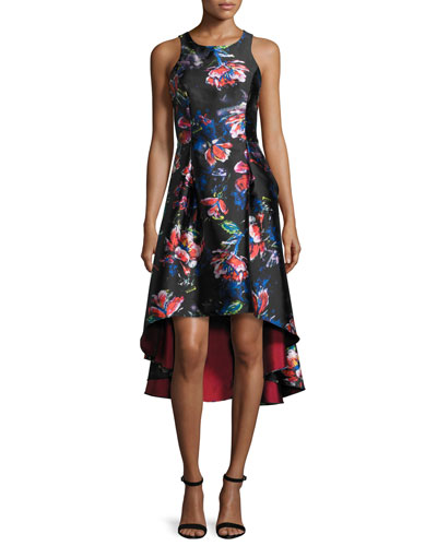 Sleeveless Floral Satin High-Low Dress, Garnet/Multicolor