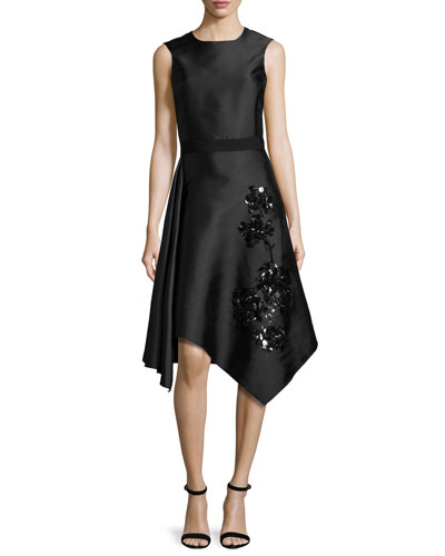 Sleeveless Embellished Taffeta Cocktail Dress, Onyx
