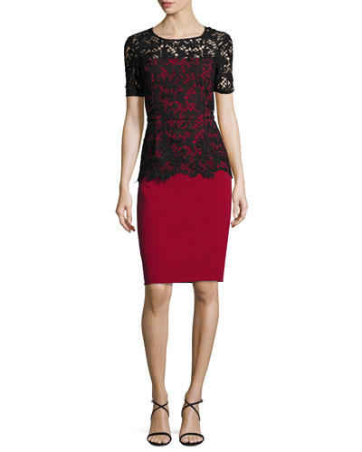 Short-Sleeve Lace-Overlay Crepe Sheath Dress, Garnet