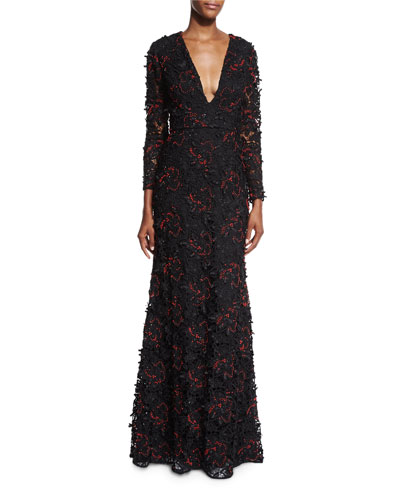 Long-Sleeve Beaded Lace Gown, Onyx