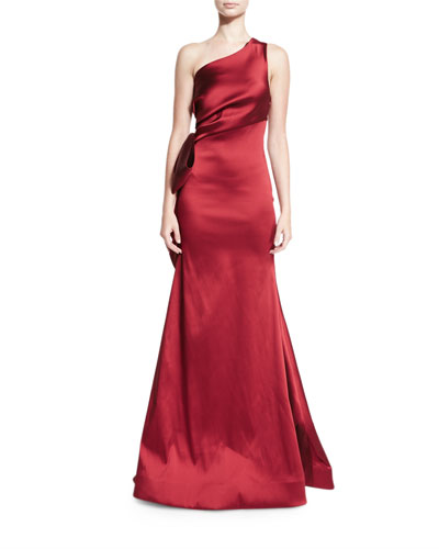 One-Shoulder Stretch Satin Gown, Garnet