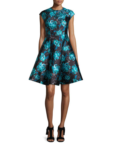 Cap-Sleeve Floral Jacquard Fit-and-Flare Dress, Blue Topaz