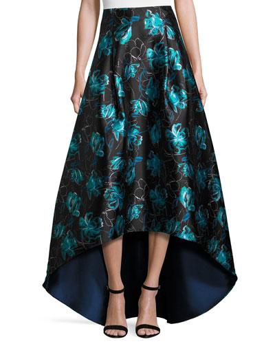 Floral Jacquard High-Low Ball Skirt, Blue Topaz
