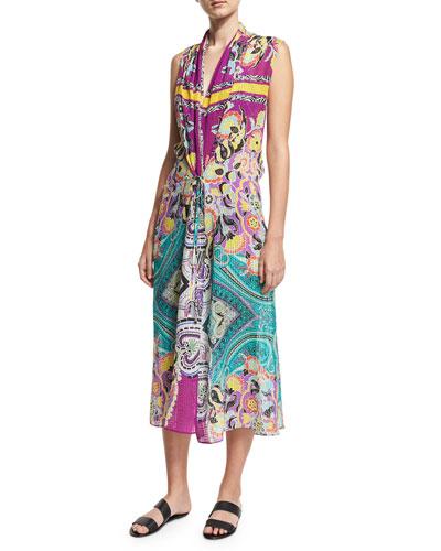 Printed Silk Coverup Midi Dress, Multicolor
