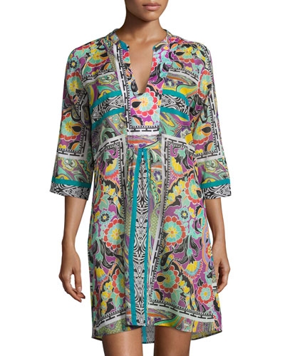 Paisley Floral 3/4-Sleeve Tunic Coverup, Multi