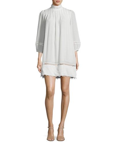 La Sierra Pintuck Lace-Trim Mini Dress