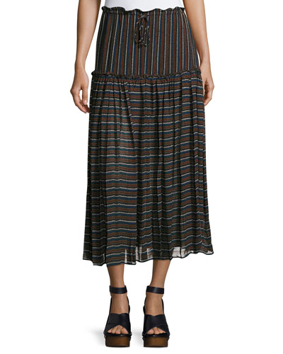 Dulce Accordion Midi Skirt, Techno Stripe