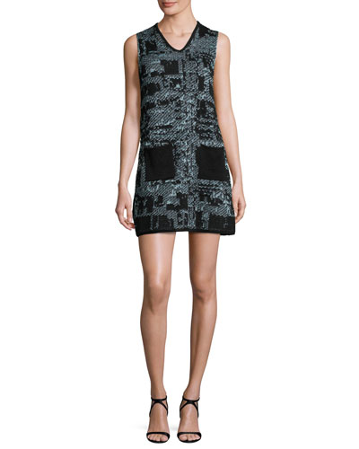 Sleeveless V-Neck Boucle Shift Dress, Ice