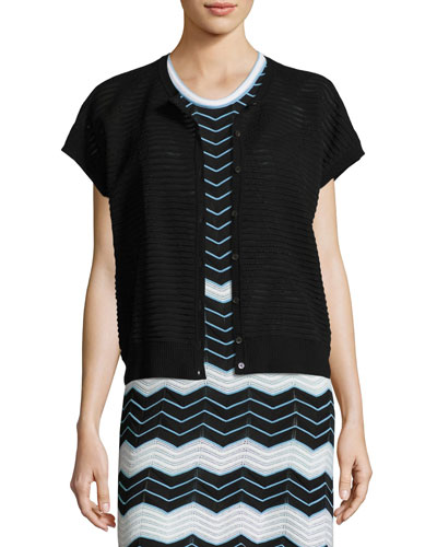 Short-Sleeve Bubble-Hem Zigzag Cardigan, Black