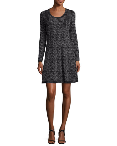 Long-Sleeve Zigzag Lurex® A-Line Dress, Black