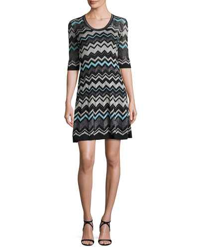 Half-Sleeve Lurex® Zigzag Dress, Black