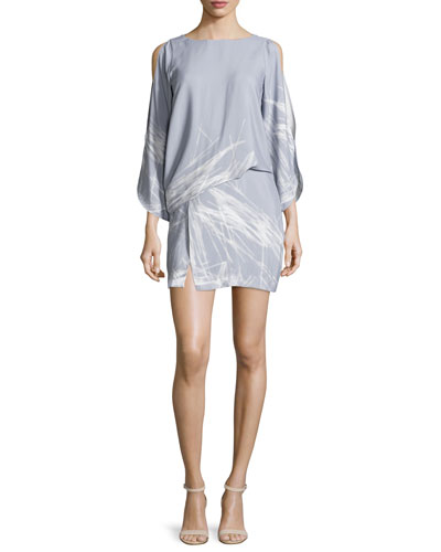 Split-Sleeve Bateau-Neck Graphic Shift Dress, Slate Gray