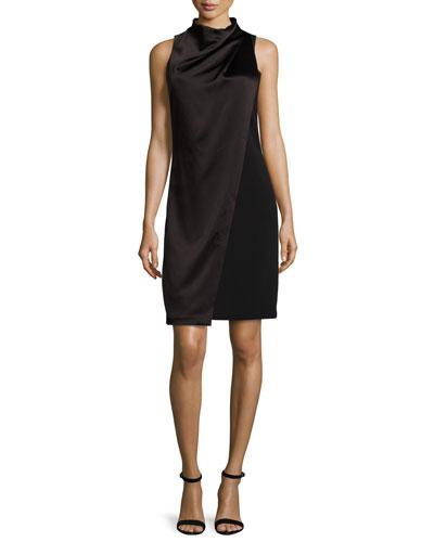 Sleeveless Mock-Neck Draped-Front Dress, Black