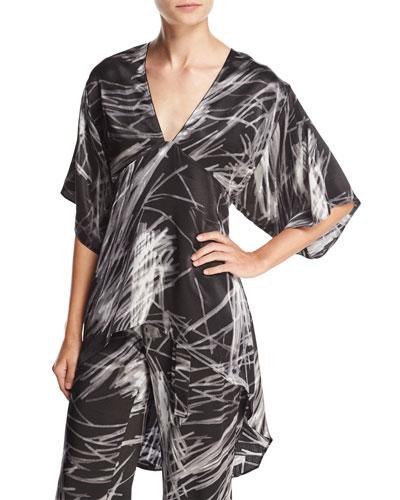 High-Low Printed Kimono Top, Black Reflection