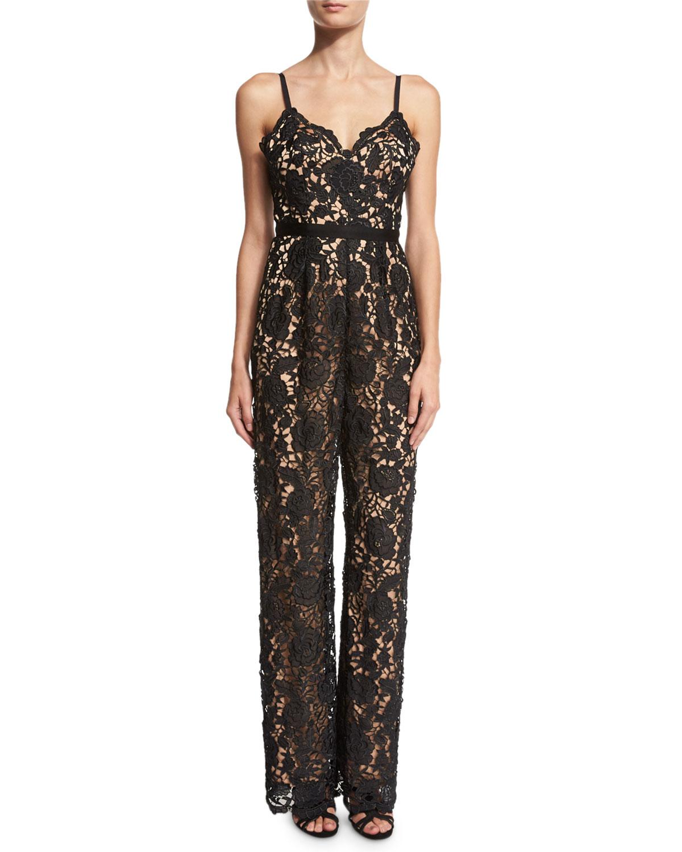 Lace Cami-Strap Jumpsuit, Black/Almond
