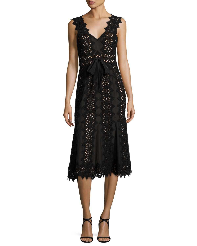 Sleeveless Scalloped Lace Midi Dress, Black/Almond