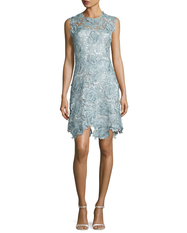 Sleeveless Rosette Lace Cocktail Dress, Metallic Blue/Steel